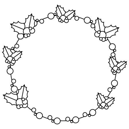 Christmas leafs decorative frame vector illustration design Illustration