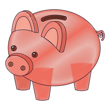 돼지 저금통 보안 돈을 아이소 메트릭 벡터 그림 그리기