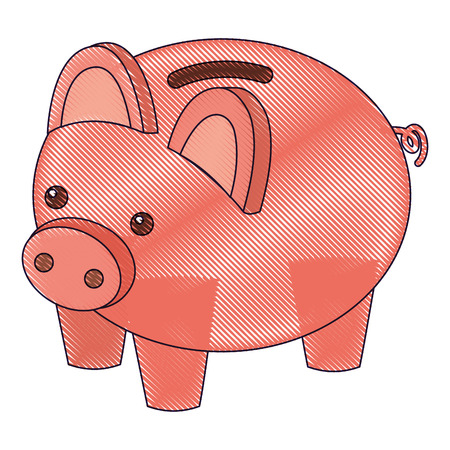 Piggy bank security saving money isometric vector illustration drawing