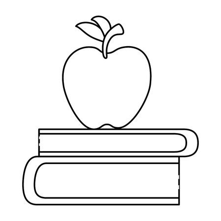 text book with apple vector illustration design Иллюстрация