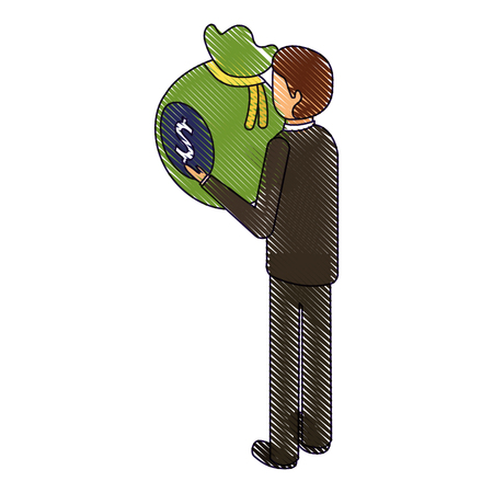 businessman isometric holding bag money back view vector illustration drawing