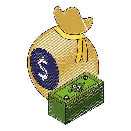Isometrische Tasche des Geldes und abgesteckte Banknotenwährungvektor-Illustrationszeichnung Standard-Bild - 91398302