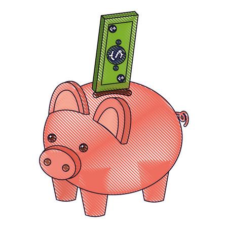 Alcancía de banco con dibujo de ilustración de vector de dinero en efectivo de billetes de banco Foto de archivo - 91398305