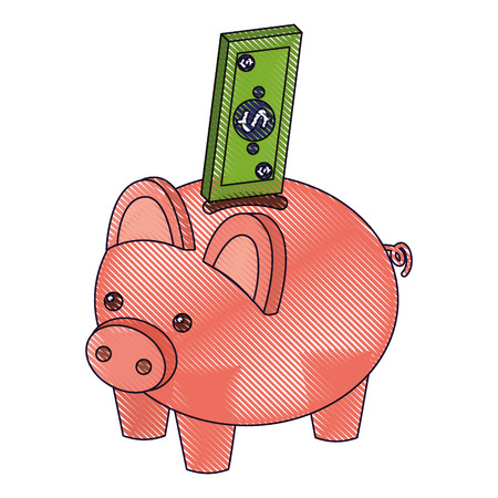 bank piggy with banknote money cash isometric vector illustration drawing Stok Fotoğraf - 91398305