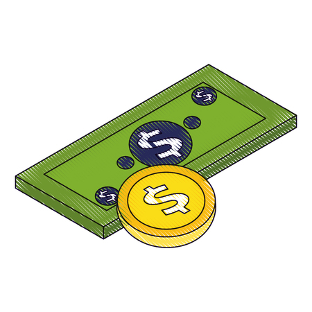 お金紙幣コイン通貨ドル同数ベクトルイラスト描画  イラスト・ベクター素材