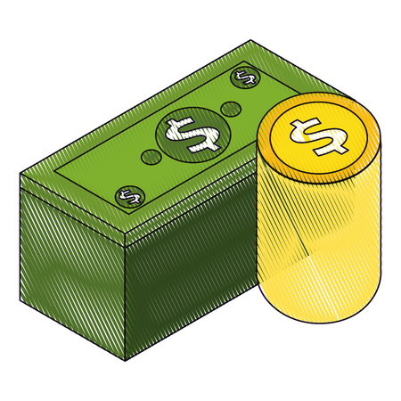 stack banknote and coins currency bank isometric vector illustration drawing Ilustrace