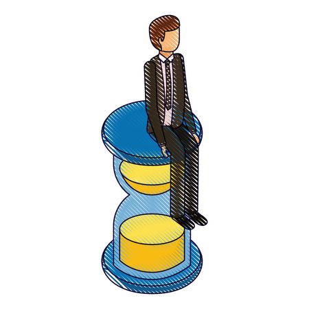 businessman sitting in clock hourglass isometric vector illustration drawing Illustration