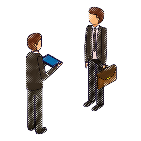 businessmen standing with briefcase and tablet isometric vector illustration drawing