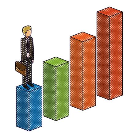gefrustreerde zakenman met werkmap staande op een grafiek naar beneden niet succesvol teken isometrische vector illustratie Stock Illustratie