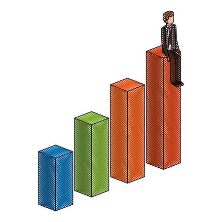 businessman sitting on a graph up successful character isometric vector illustration drawing Illusztráció