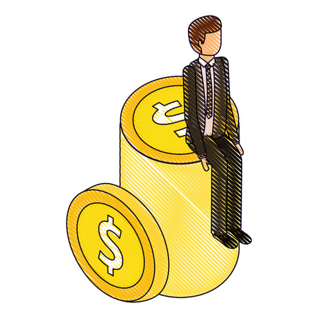 businessman sitting pile coins money isometric vector illustration drawing Illustration