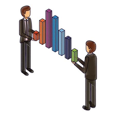 businessmen holding graph bars financial business isometric vector illustration drawing