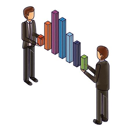 zakenlieden die grafiek bars financiële zaken isometrische vectorillustratietekening houden Stock Illustratie