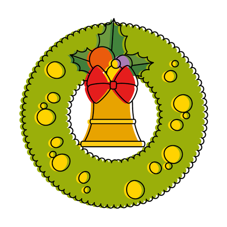 christmas crown with bell decorative vector illustration design