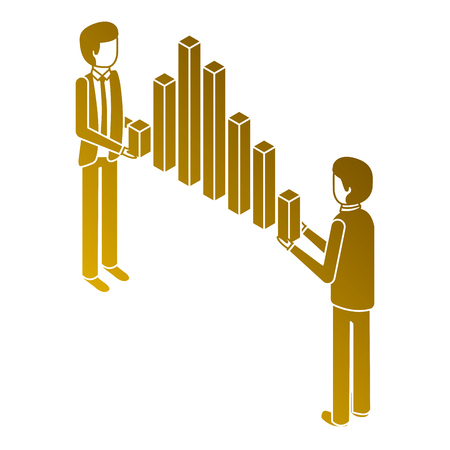 businessmen holding graph bars financial business isometric vector illustration