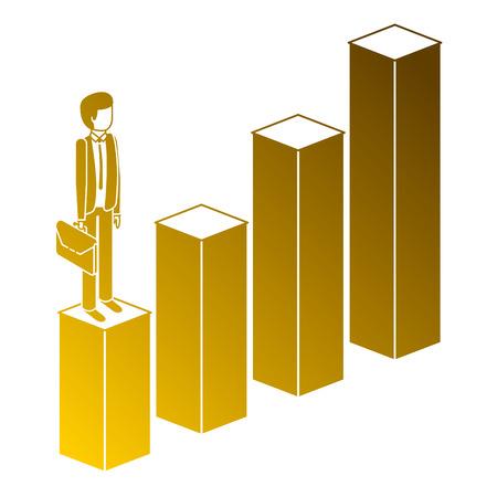 gefrustreerde zakenman met aktetas staande op een grafiek naar beneden onsuccesvolle karakter isometrische vectorillustratie