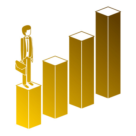 frustrated businessman with briefcase standing on a graph down unsuccessful character isometric vector illustration