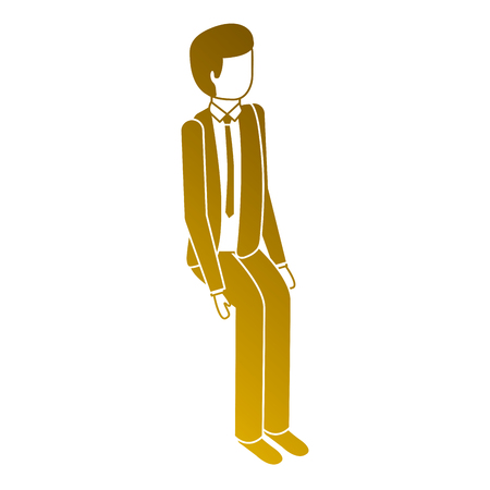 isometric businessman sit pose character vector illustration Illustration