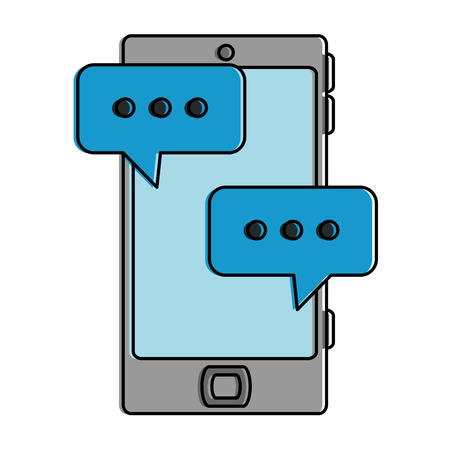 Smartphone device with speech bubbles vector illustration design Ilustrace