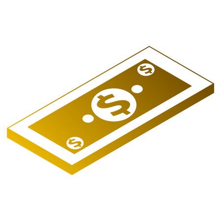 Money isometric banknote dollar cash vector illustration Illustration