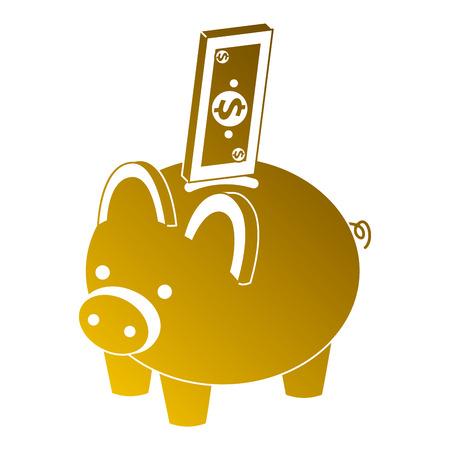 紙幣現金同数図を持つピギー銀行。