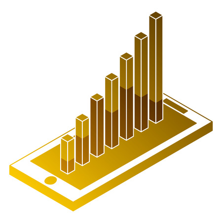 Mobile with graph bar financial on screen isometric illustration. Illustration