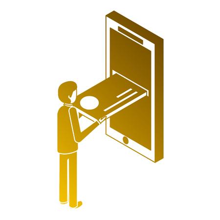 モバイルアイソメトリックイラストレーションにクレジットカードを挿入する男性。