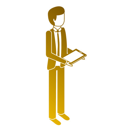 Man stand holding tablet device illustration.