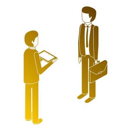 Mannen staan ??met werkmap en tablet isometrische illustratie. Stockfoto - 91398528