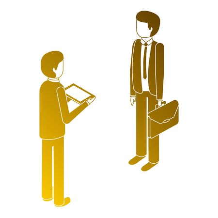 Men standing with briefcase and tablet isometric illustration.