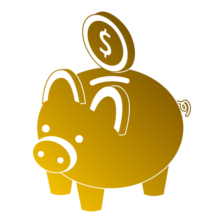 Piggy bank with coin money cash isometric illustration.