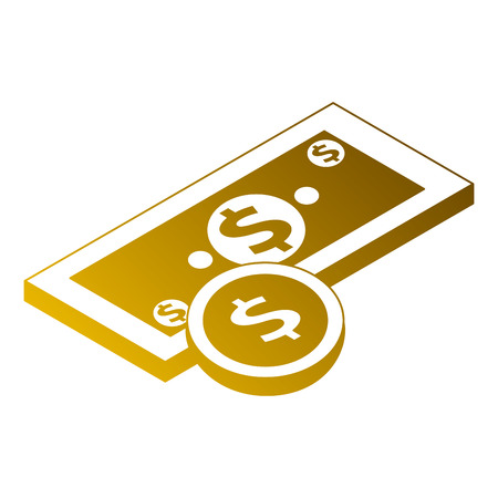 Money banknote coin currency dollar isometric illustration.