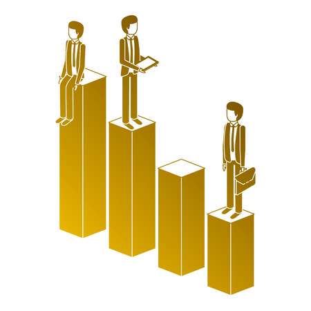 Different man standing on bar charts financial status illustration.