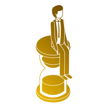 businessman sitting in clock hourglass isometric vector illustration