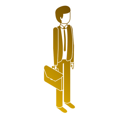 Man stand holding briefcase isometric image illustration.