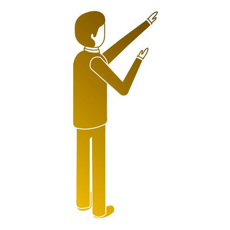 Mann Rückansicht stehend isometrische Darstellung Standard-Bild - 91398573