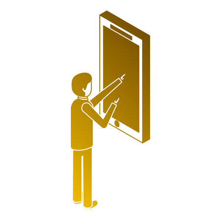 Man touch screen mobile device isometric illustration. Illustration