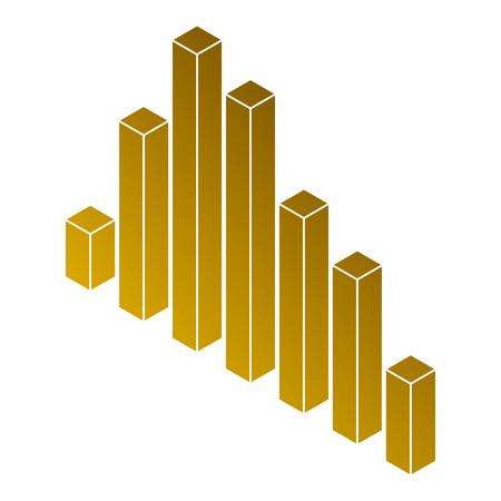 Bars statistics isometric financial graph illustration.