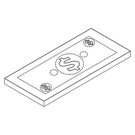 Money isometric banknote dollar cash illustration.