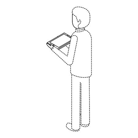 Mens met tablet in de isometrische illustratie van de hand achtermening.