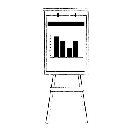 Paperboard with statistics icon illustration design.