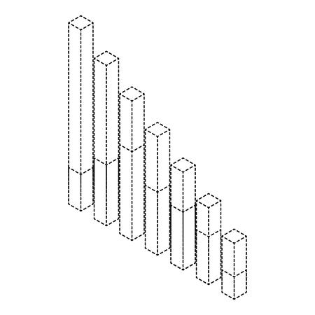 Bars statistics isometric financial graph vector illustration Ilustração