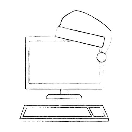 computer desktop with christmas hat vector illustration design