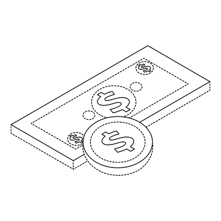 Money banknote and coin currency dollar isometric illustration.
