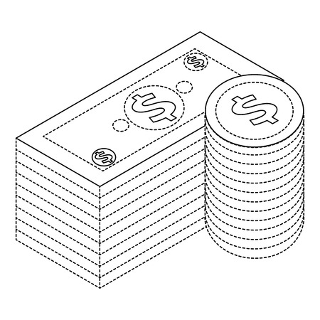 Banknote and coins currency isometric illustration.