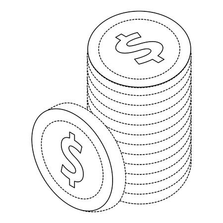 ドル硬貨通貨の同数図のスタック。