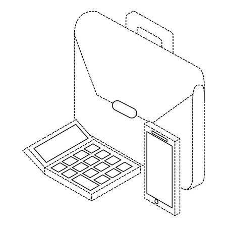 Business briefcase mobile and calculator isometric illustration.