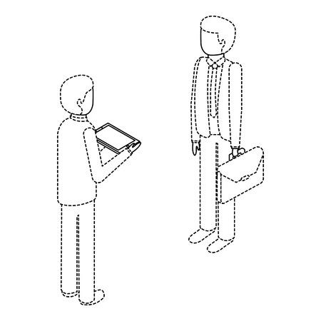 Mannen staan ??met werkmap en tablet isometrische illustratie. Stock Illustratie