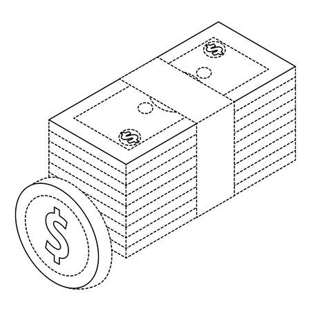 Money bundle dollars banknote and coin isometric illustration. Ilustracja