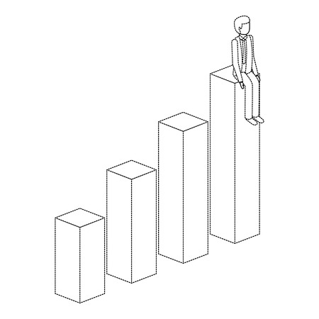 Man sitting on a graph up successful character isometric illustration.